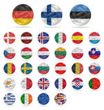 Euro- moeda ajustada com bandeiras Imagem de Stock Royalty Free