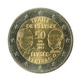 euro- moeda 2 50 anos de tratado do elysee isolado no fundo branco fotografia de stock