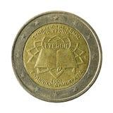euro- moeda 2 50 anos de tratado de Roma isolado no fundo branco fotos de stock