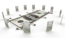 Euro- moeda de encontro ao conceito do dinheiro do dólar Fotos de Stock