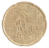 Euro- moeda do centavo Foto de Stock Royalty Free