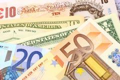 Euro, moeda do Reino Unido & dos E.U. Foto de Stock Royalty Free