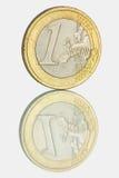 A euro- moeda e são reflexão Foto de Stock Royalty Free