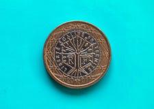 1 euro- moeda, União Europeia, França sobre o azul verde Fotografia de Stock Royalty Free