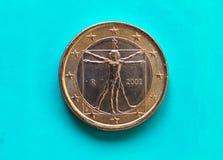 1 euro- moeda, União Europeia, Itália sobre o azul verde Fotos de Stock Royalty Free