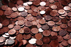 Euro- moedas cipriotas - centavos 5, 2 e 1. Imagens de Stock Royalty Free