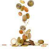 Euro- moedas de queda Imagens de Stock Royalty Free