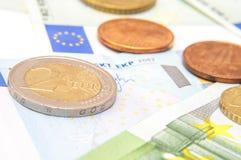 Euro- moedas e cédulas do dinheiro Foto de Stock Royalty Free