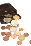 Euro- moedas e carteira Fotos de Stock Royalty Free