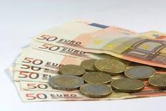 Euro- moedas e notas imagens de stock royalty free