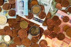 Euro- moedas e notas de banco Imagem de Stock Royalty Free