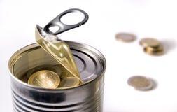 Euro- moedas em uma lata fotografia de stock royalty free