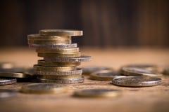 Euro- moedas empilhadas Fotografia de Stock Royalty Free