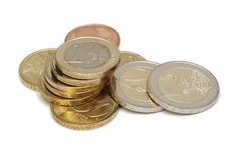 Euro- moedas (isoladas) Imagem de Stock Royalty Free