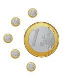 Euro- moedas no vetor Fotografia de Stock Royalty Free