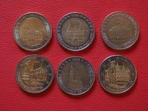 2 euro- moedas, União Europeia, Alemanha Imagens de Stock Royalty Free
