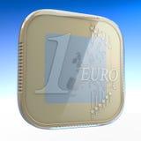 Euro moneta app Fotografia Stock Libera da Diritti