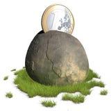 Euro moneta che attacca nella pietra Immagini Stock