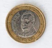 1 euro moneta con lo sguardo usato parte di espania Fotografia Stock Libera da Diritti