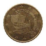 Euro moneta dal Cipro Fotografia Stock Libera da Diritti