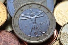 Euro moneta dell'italiano uno Immagini Stock