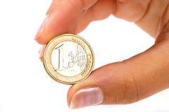 Euro moneta a disposizione Immagine Stock