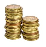 Euro moneta na bielu Zdjęcia Stock