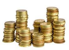 Euro moneta na bielu Zdjęcie Royalty Free