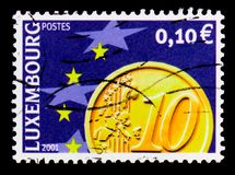 Euro moneta, serie, circa 2001 Fotografia Stock