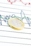 Euro moneta sul diagramma finanziario Fotografie Stock Libere da Diritti