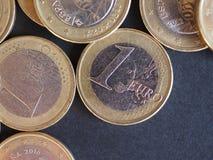 1 euro moneta, Unione Europea Fotografie Stock