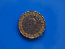 1 euro moneta, Unione Europea, Slovenia sopra il blu Immagini Stock Libere da Diritti