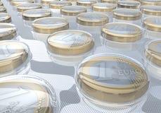 Euro monete in blister Fotografia Stock