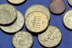 Euro monete Cancello di Brandeburgo Fotografia Stock Libera da Diritti