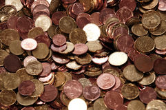 Euro monete - centesimi 10, 20, 5, 2 e 1. Fotografia Stock