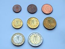 Euro monete dall'Irlanda Immagine Stock Libera da Diritti