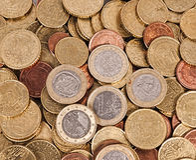 Euro monete dei soldi Immagine Stock Libera da Diritti