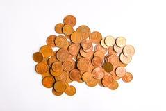 Euro monete della denominazione differente liberate dalla Lettonia fotografie stock libere da diritti