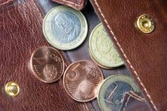 Euro monete e banconote dei soldi Fotografie Stock Libere da Diritti