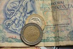 Euro monete greche Fotografia Stock Libera da Diritti