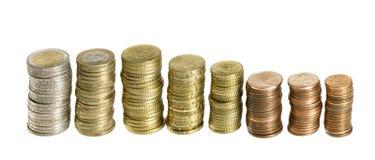 Euro monete impilate Fotografie Stock