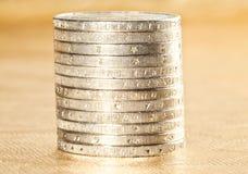 Euro monete impilate Immagini Stock Libere da Diritti
