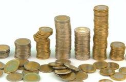 Euro monete impilate Immagine Stock