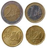 Euro monete piene impostate - parte 1 Fotografia Stock Libera da Diritti