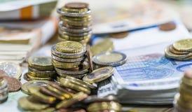 Euro monete (primo piano sparato) Immagine Stock