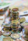 Euro monete (primo piano sparato) Fotografia Stock Libera da Diritti