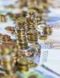 Euro monete (primo piano sparato) Fotografie Stock Libere da Diritti