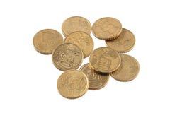 Euro monete su un fondo bianco normale Fotografia Stock