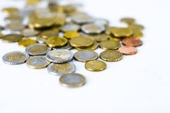 Euro monete, valuta dell'Unione Europea fotografie stock libere da diritti