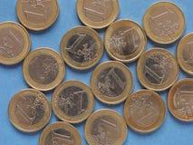 Euro monety, Europejski zjednoczenie nad błękitem Zdjęcia Royalty Free